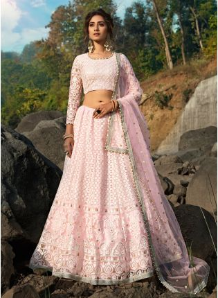 Fantastic Baby Pink Soft Net Base Sequin Zari And Resham Lehenga Choli