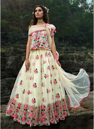 Modish Off-White Soft Net Base Resham And Sequin Work Lehenga Choli