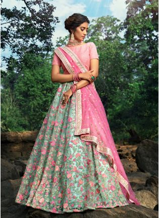 Mesmerizing Sea Green Soft Net Base Embroidered Flared Lehenga Choli