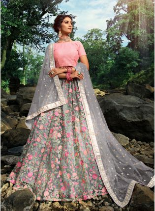 Sparkling Cloudy Grey Soft Net Base Flared Embroidered Lehenga Choli