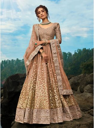 Tempting Chocolate Brown Art Silk Base Designer Ethnic Lehenga Choli