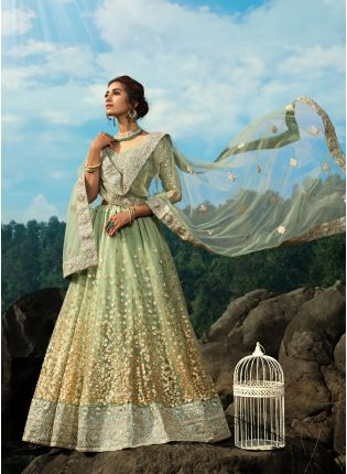 Charming Sea Green Art Silk Base Sequin Zari Resham Work Lehenga Choli