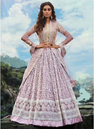 Outstanding Lavender Purple Soft Net Base Trendy Lehenga Choli