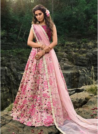 Majestic Multi-Colored Soft Net Base Designer Flared Lehenga Choli