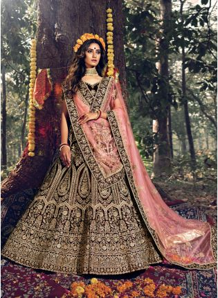 Heavenly Maroon Stone Work Velvet Lehenga Choli Set
