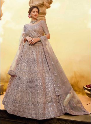 Purple Foil Mirror Zari Crepe Soft Net Flared Lehenga Choli