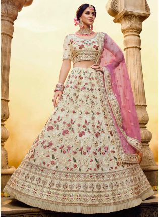 Off-White Resham Zarkan Dori Georgette Soft Net Flared Lehenga Choli