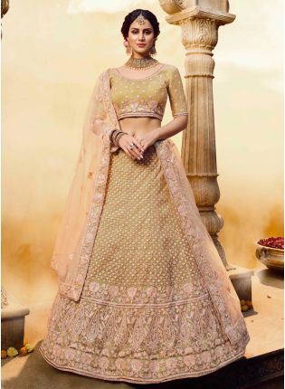 Golden Motiwork And Dori Soft Net Flared Lehenga Choli