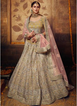 Golden Resham Sequin Zari And Dori Silk Flared Lehenga Choli