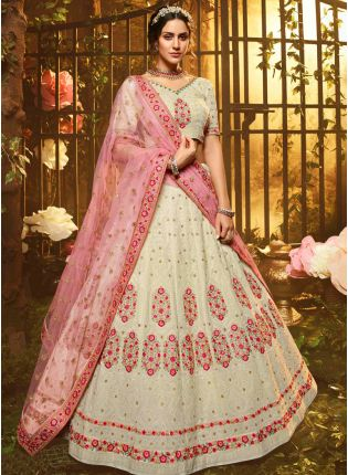 White Resham Sequins Soft Net Georgette Flared Lehenga Choli