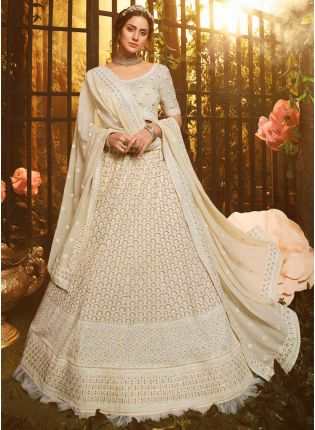 White Resham And Zarkan Georgette Flared Lehenga Choli
