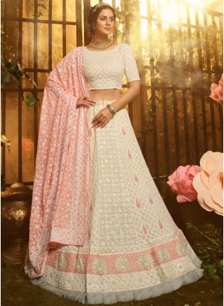 White Resham Moti And Zarkan Georgette Flared Lehenga Choli