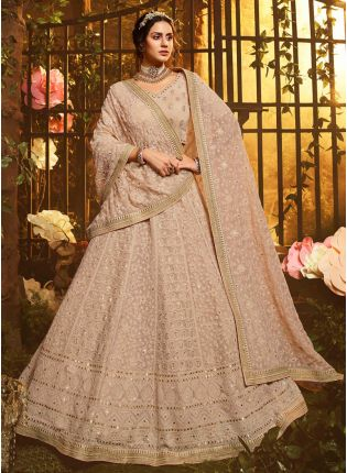 Brown Resham And Sequin Georgette Flared Lehenga Choli