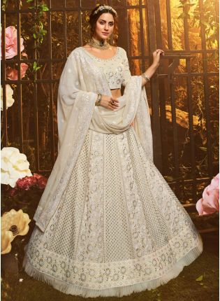 White Resham Dori Sequin Georgette Flared Lehenga Choli
