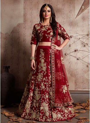 Maroon Dori Work Velvet Lehenga Choli And Dupatta Set