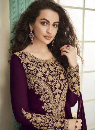 Purple Stonework and Zari Georgette Festival Slit Cut Anarkali Suit