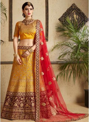 Mustard Yellow Heavily Embellished Satin Base Wedding Wears Lehenga Choli