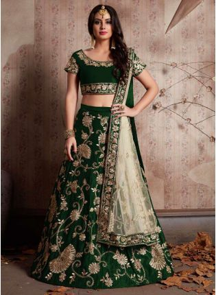 Green Machine Embroidery Lehenga Choli With Sequins Embellished