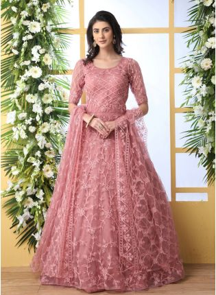 Remarkable Peach Pink Soft Net Base Festive Wear Designer Gown