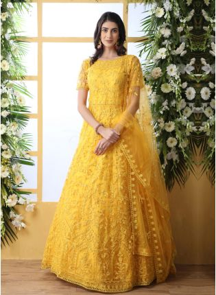 Stunning Mustard Yellow Soft Net Ethnic Ceremonial Designer Gown