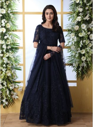 Adorable Dark Blue Colored Soft Net Festive Wear Ethnic Designer Gown