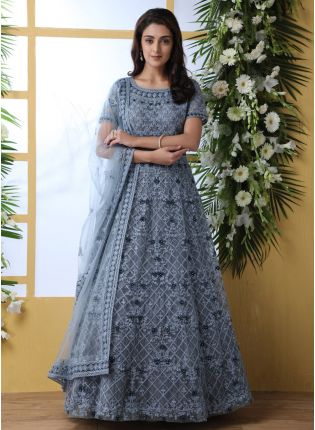 Elegant Cloudy Grey Soft Net Base Ethnic Festive Wear Designer Gown