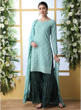 Admirable Light Sea Green Cotton Base Trendy Palazzo Suit