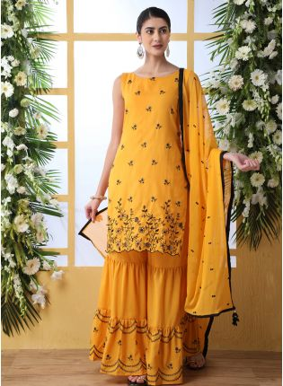 Sensational Mustard Yellow Cotton Base Palazzo Salwar Suit