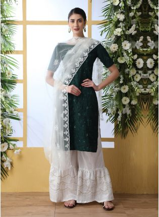 Phenomenal Dark Green Cotton Base Resham Work Palazzo Suit