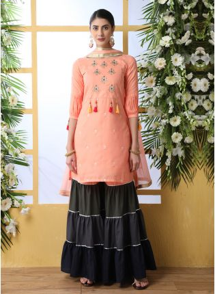 Unbeatable Peach Pink Cotton Base Festive Wear Sharara Suit