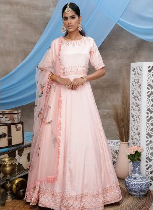 Peach Zari Resham Georgette Soft Net Anarkali Salawar Suit