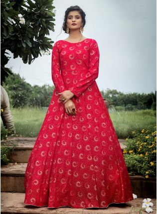 Rani Foil Print Georgette Wedding Anarkali Salwar Suit