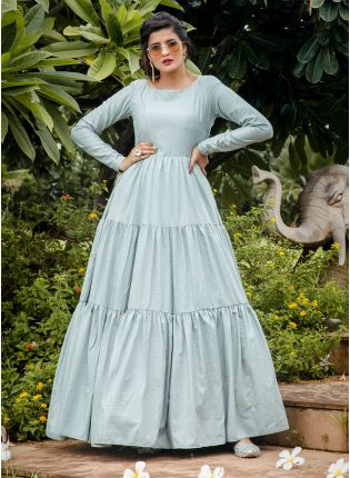 Blue Foil Print Silk Ceremonial Anarkali Salwar Suit