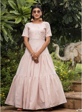 Pink Resham And Sequins Cotton Anarkali Salwar Suit