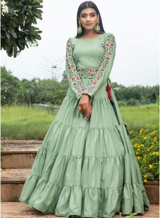 Green Resham And Sequins Cotton Anarkali Salwar Suit