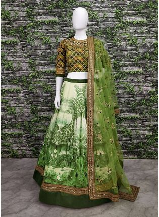 Stunning Grapes Green Wedding Wear Digital-painted and embroidered Lehenga Choli