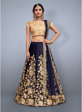 Navy Blue Dori Work Velvet Lehenga Choli