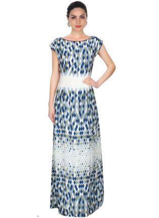 Ecru, Grey And Blue Leaf Illusion Print Long Dress