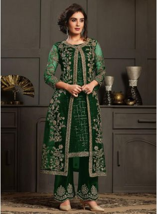 Dazzling Green Color Pant Style Suit