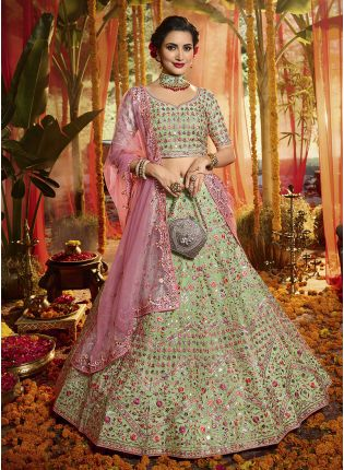 Outstanding Pista Green Organza Base Embroidered Lehenga Choli