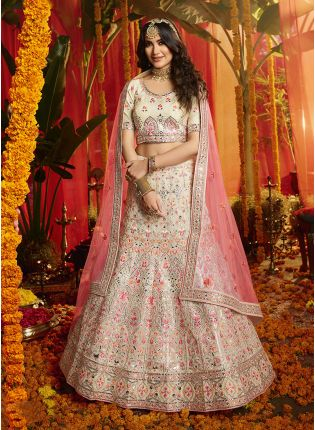 Spectacular White And Pink Organza Base Designer Lehenga Choli