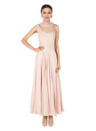 Beige Designer Embroidered Gown For Women
