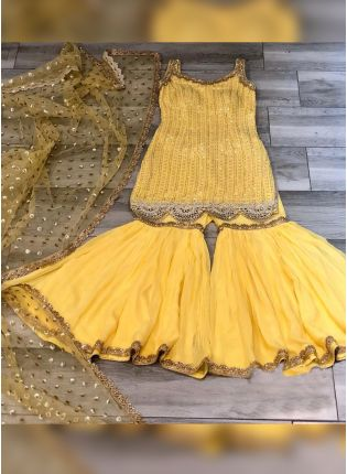 Yellow Lace And Sequin Sharara Suit For Sangeet