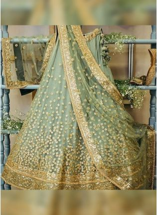 Green Sequin and Dori work Soft Net Panelled Lehenga Choli