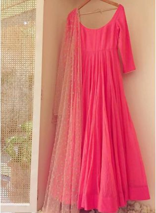 Neon Pink Sequin Georgette Party Wear Designer Gown