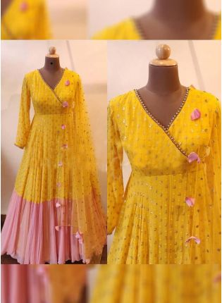 Delightful Pink And Yellow Color Designer Georgette Base Gown