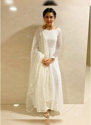 Outstanding Dove White Georgette Base Stitch Work Anarkali Suit