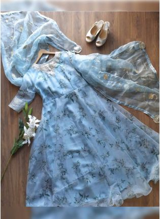 Sky Blue Color Party Wear Organza Gown