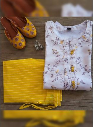 Tempting White And Yellow Cotton Silk Festive Wear Pant Style Suit