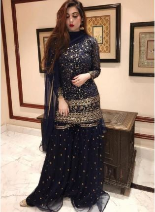 Navy Blue Color Soft Net Base With Sequins And Embroidery Work Palazzo Suit